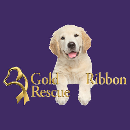 Gold Ribbon Rescue Puppy Logo - Women's Fitted T-Shirt