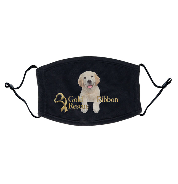 Gold Ribbon Rescue - Gold Ribbon Rescue Puppy Logo - Adult Adjustable Face Mask