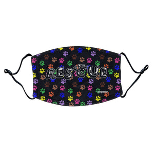 Colorful Paw Prints - Rescue - Adult Adjustable Face Mask