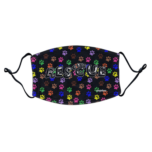 Colorful Paw Prints - Rescue Face Mask - WCLRR