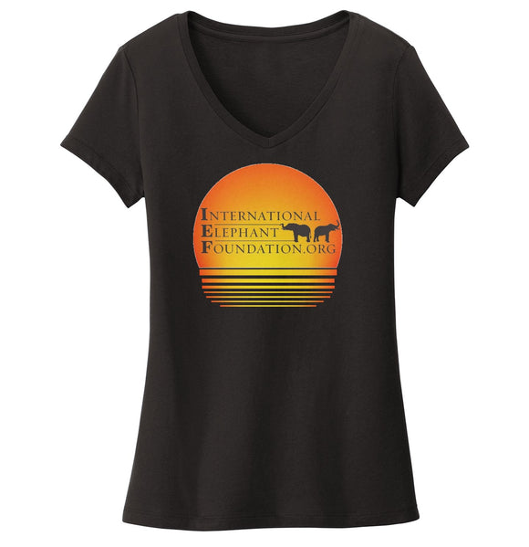 International Elephant Foundation - IEF Sunset Logo - Women's V-Neck T-Shirt