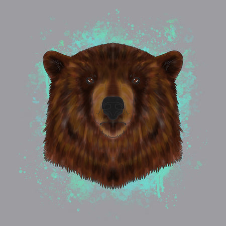 Brown Bear Blue Illustration - Adult Adjustable Face Mask