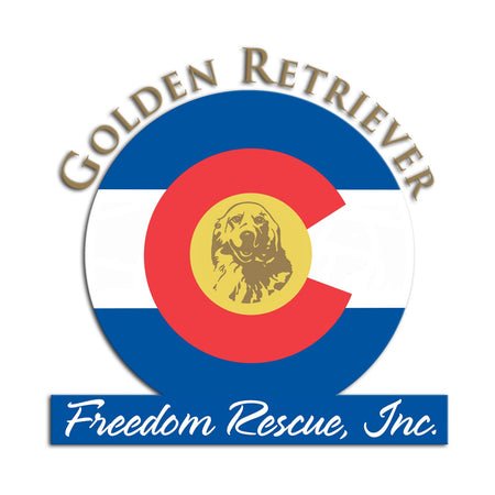 Golden Retriever Freedom Rescue Colorado Flag Logo - Left Chest - Women's Fitted T-Shirt