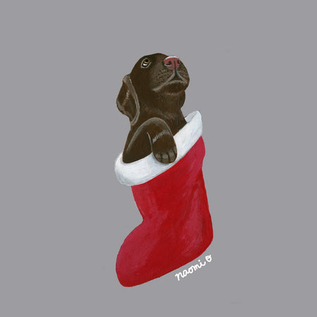 Chocolate Lab in Stocking - Adult Adjustable Face Mask