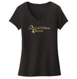 Gold Ribbon Rescue Logo - Women's V-Neck T-Shirt