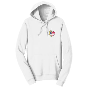 WCLRR - USA Flag Heart Yellow Lab Left Chest - Hoodie Sweatshirt
