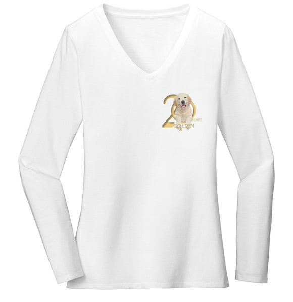 Gold Ribbon Rescue - 20 Years - Left Chest Logo - Ladies' V-Neck Long Sleeve T-Shirt