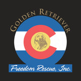 Golden Retriever Freedom Rescue Colorado Flag Logo - Left Chest - Adult Tri-Blend T-Shirt