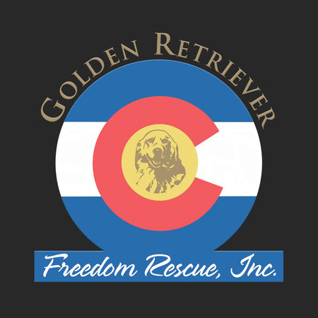 Golden Retriever Freedom Rescue Colorado Flag Logo - Left Chest - Adult Unisex T-Shirt