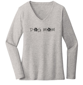 Dog Mom - Paw Text - Women's V-Neck Long Sleeve T-Shirt