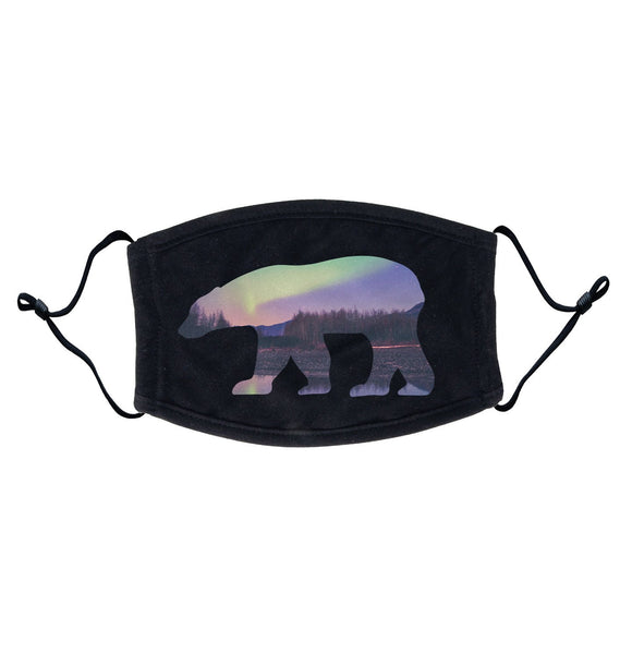 Northern Lights Polar Bear - Adult Adjustable Face Mask