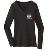 Golden Retriever Freedom Rescue Colorado Flag Logo - Left Chest - Ladies' V-Neck Long Sleeve T-Shirt