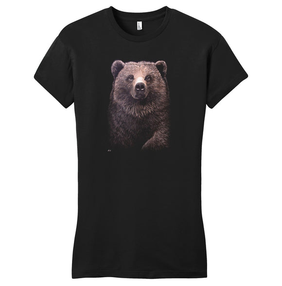 Grizzly Bear on Black - Women's Fitted T-Shirt