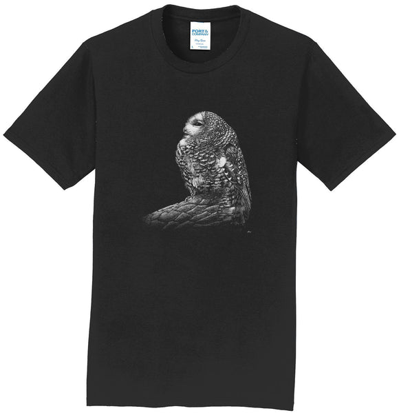 Spotted Owl on Black - Adult Unisex T-Shirt