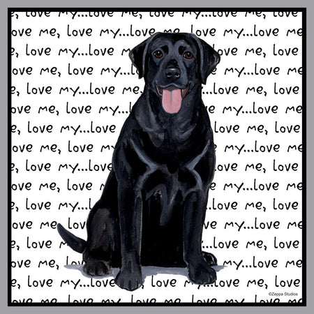 Black Lab Love Text - Adult Unisex Hoodie Sweatshirt