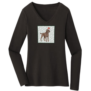 WCLRR - Chocolate Lab Howlidays - Women's V-Neck Long Sleeve T-Shirt