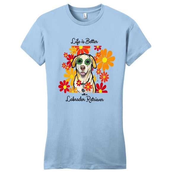 WCLRR - Life is Better - Labrador and Flowers - Women's Fitted T-Shirt