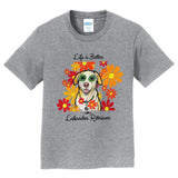 Life is Better - Labrador and Flowers - Kids' Unisex T-Shirt