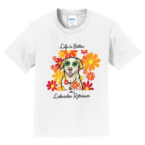 WCLRR - Life is Better - Labrador and Flowers - Kids' Unisex T-Shirt