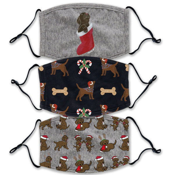 Christmas Chocolate Lab 3 Pack - Adult Adjustable Face Mask