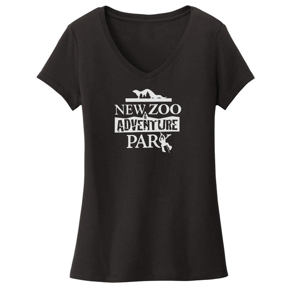NEW Zoo & Adventure Park - Black & White Logo - Women's V-Neck T-Shirt