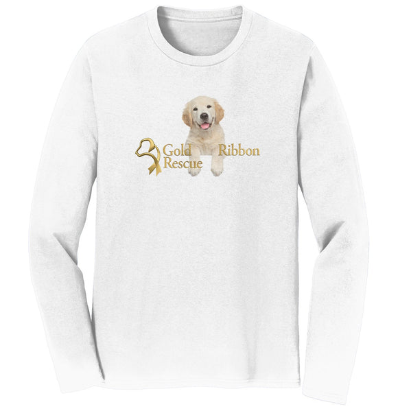 Gold Ribbon Rescue Puppy Logo - Long Sleeve T-Shirt