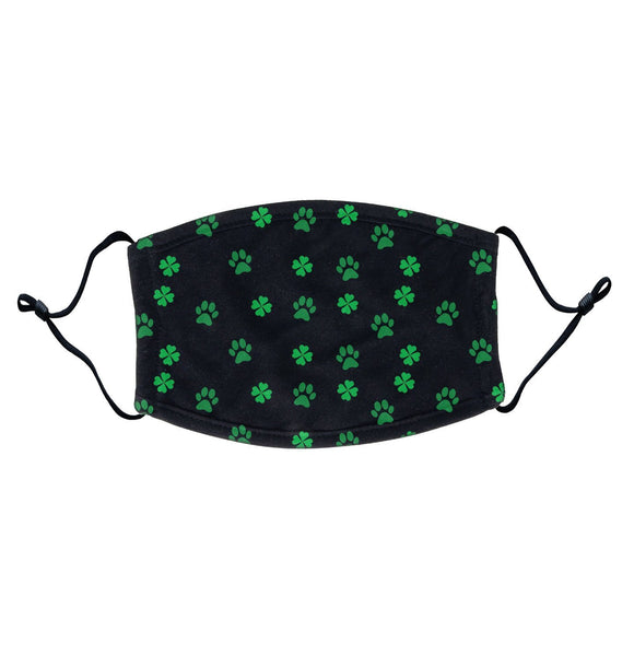 Scattered Shamrock Paw Pattern - Adult Adjustable Face Mask