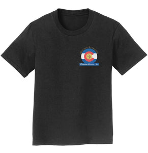 Golden Retriever Freedom Rescue Colorado Flag Logo - Left Chest - Youth T-Shirt