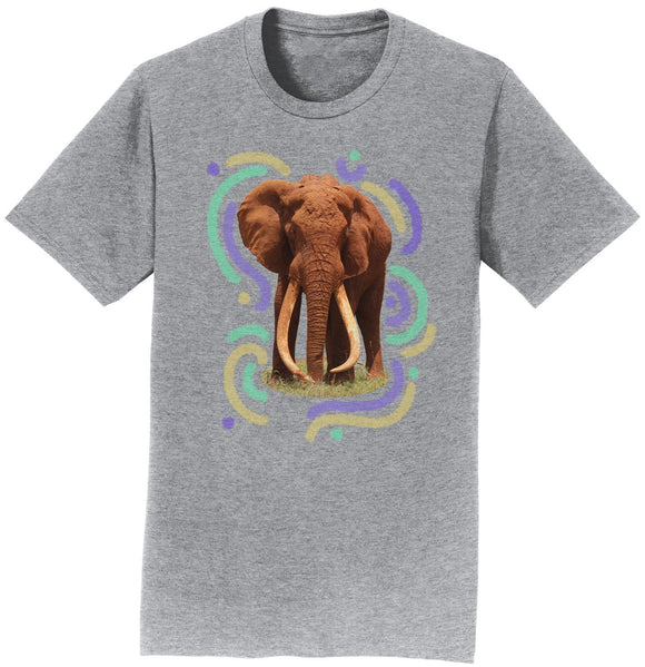 Wiggly Lines Elephant - Adult Unisex T-Shirt