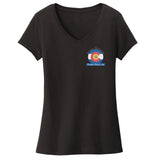 Golden Retriever Freedom Rescue Colorado Flag Logo - Left Chest - Ladies' V-Neck T-Shirt