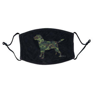 Labrador Silhouette Woodland Camouflage - Adult Adjustable Face Mask