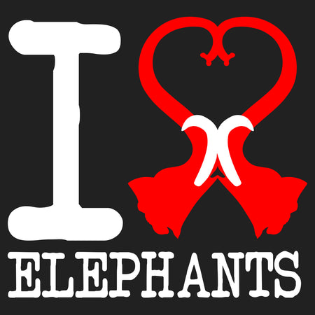 I Heart Elephants - Women's V-Neck Long Sleeve T-Shirt