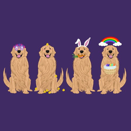 Easter Golden Retriever Line Up - Women's Fitted T-Shirt