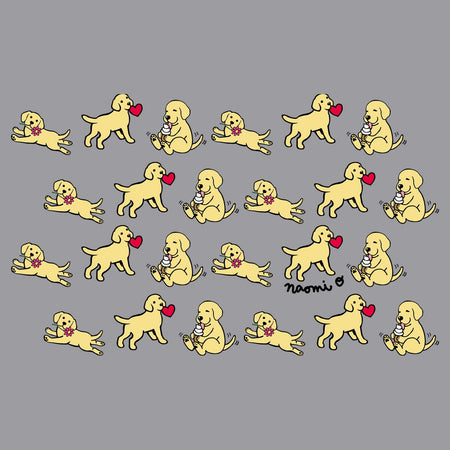 Yellow Lab Puppy Cartoon Pattern - Adult Adjustable Face Mask