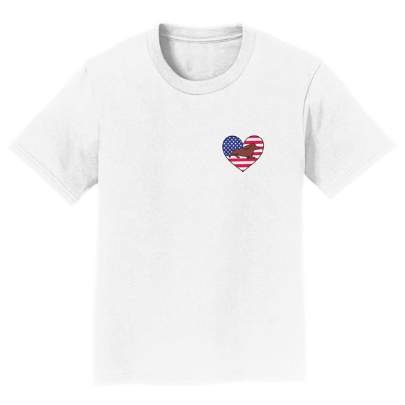 Parker Paws Store - USA Flag Heart Red Smooth Doxie Running Left Chest - Kids' Unisex T-Shirt