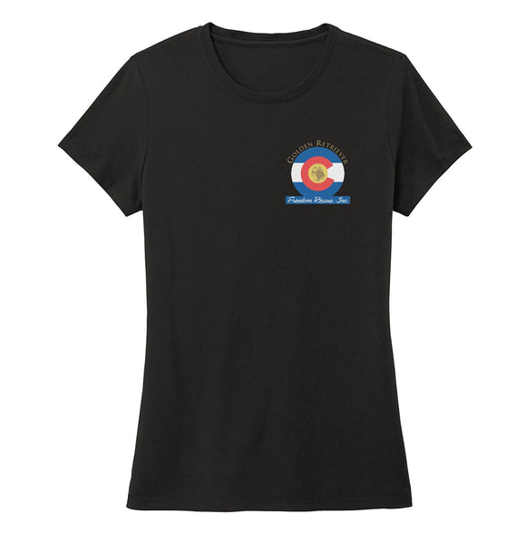Golden Retriever Freedom Rescue Colorado Flag Logo - Left Chest - Ladies' Tri-Blend T-Shirt