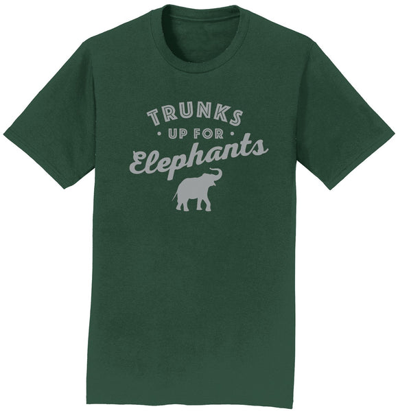 Trunks Up for Elephants Light Grey T-Shirt | International Elephant Foundation