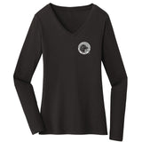 The Labrador Retriever Club - LRC Logo - Left Chest Black & White - Women's V-Neck Long Sleeve T-Shirt