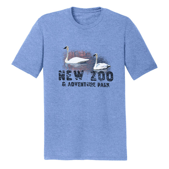 NEW Zoo & Adventure Park - NEW Zoo Trumpeter Swans Sunset - Adult Tri-Blend T-Shirt