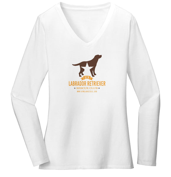 DFW Lab Rescue Logo - Ladies' V-Neck Long Sleeve T-Shirt
