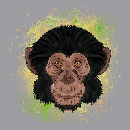 Chimp Green Illustration - Adult Adjustable Face Mask