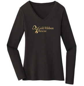Gold Ribbon Rescue Logo - Ladies' V-Neck Long Sleeve T-Shirt