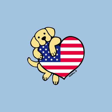 Yellow Lab USA Flag Heart Left Chest - Women's Fitted T-Shirt