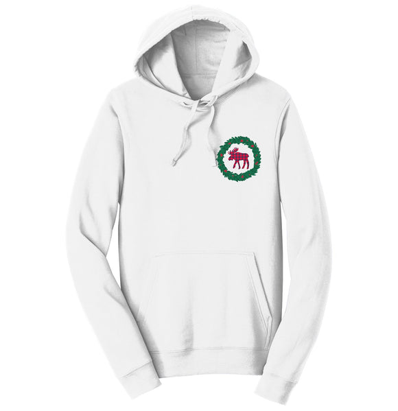 Moose Wreath - Adult Unisex Hoodie Sweatshirt