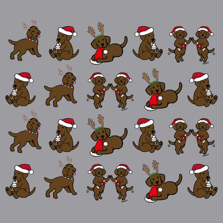 Christmas Chocolate Lab Puppy Pattern - Adult Adjustable Face Mask