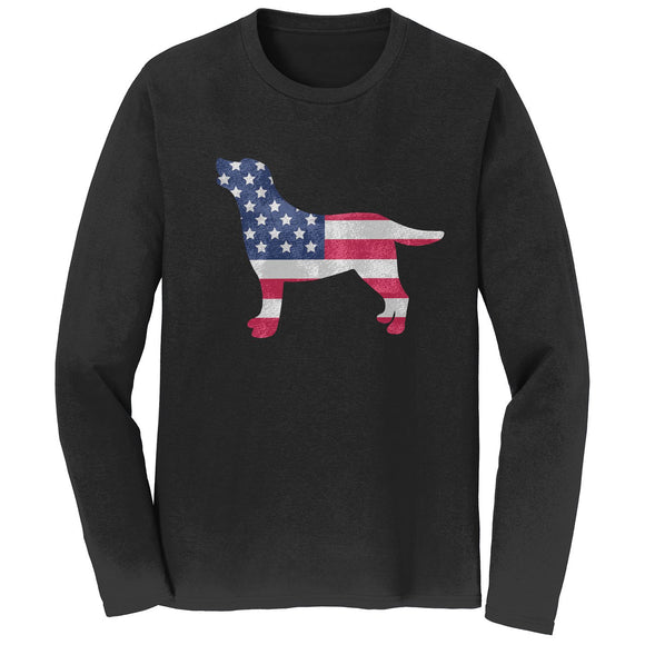 USA Flag Pattern Lab Silhouette - Long Sleeve Shirt - WCLRR Online Store