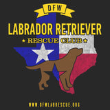 DFW LRRC Texas Flag Chocolate Lab Logo - Adult Unisex T-Shirt