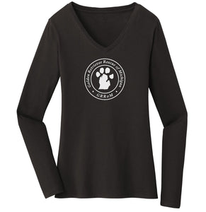 Golden Retriever Rescue of Michigan Logo - Full Front White - Ladies' V-Neck Long Sleeve T-Shirt