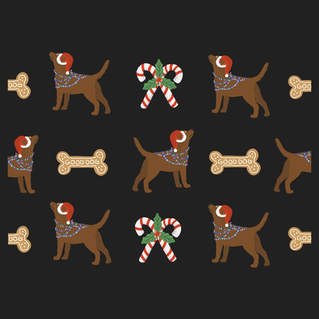 Christmas Chocolate Lab Pattern - Adult Adjustable Face Mask