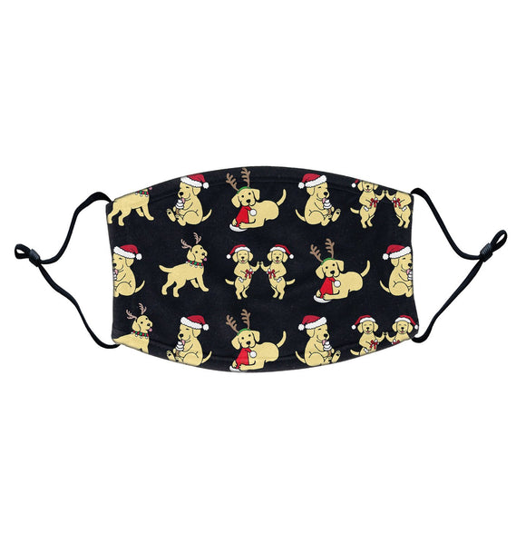 Christmas Yellow Lab Puppy Pattern - Adult Adjustable Face Mask